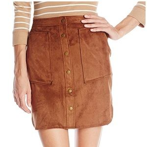 Jolt Button-Front Suede Skirt with Rounded Hem